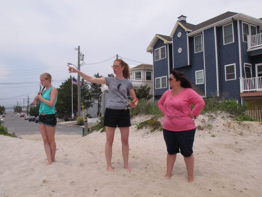 Daniela Stefano, left, Carol McCarty, center, and Nicole Stefano stand on the remnants of a sand dune behind their Surf City, N.J., homes on July 9. A beach replenishment project designed to protect the homes from catastrophic storms like Superstorm Sandy is leaving out their street and two others nearby because some property owners refused to sign easements giving government access to a narrow strip of their land to build protective dunes. A study finds such dunes protect coastlines against storm surges. (Photo: Wayne Parry, AP)