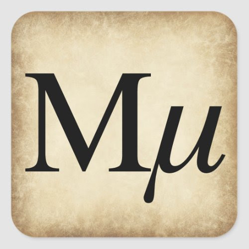 Greek Alphabet Letter Mu Square Sticker