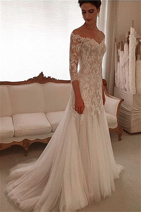Glamorous Off the shoulder 3/4 Length Sleeve 2019 Wedding