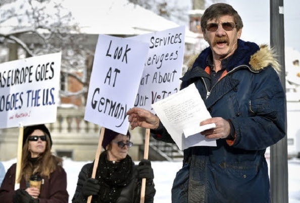 Residents of Ravalli County in western Montana protest against plans to bring Syrian refugees to their state last Thursday. Photo/The Missoulian