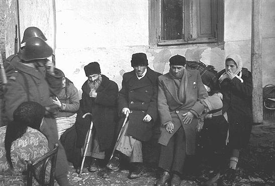 Jews of the Kishinev ghetto assembled for deportation to Transnistria. Kishinev, Bessarabia,  October 28, 1941.