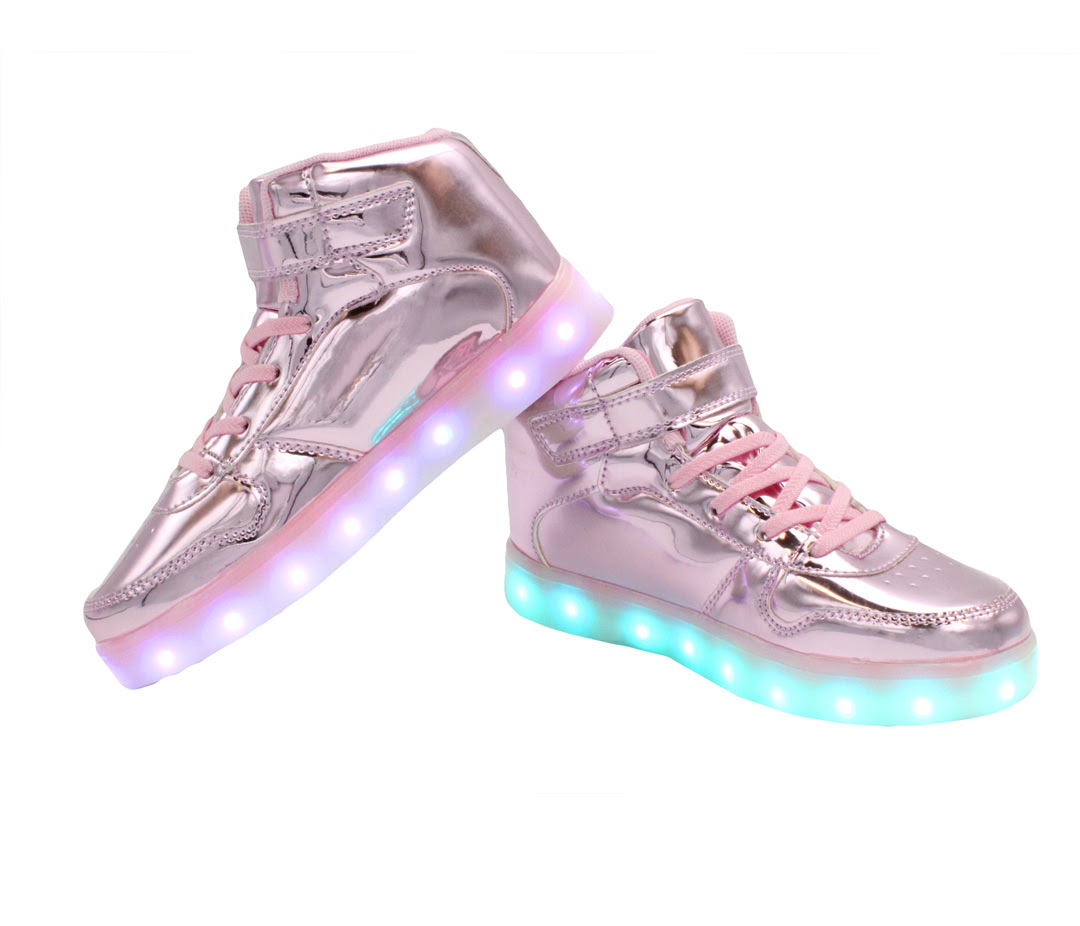 Galaxy LED Shoes Light Up USB Charging High Top Women's Sneakers (Pink Glossy) - GALAXY SHOES