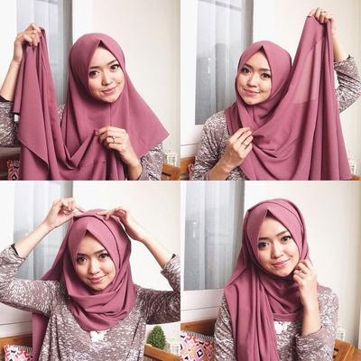 Tutorial Hijab Pashmina Diamond Untuk Wajah Bulat Gamis Kombinasi