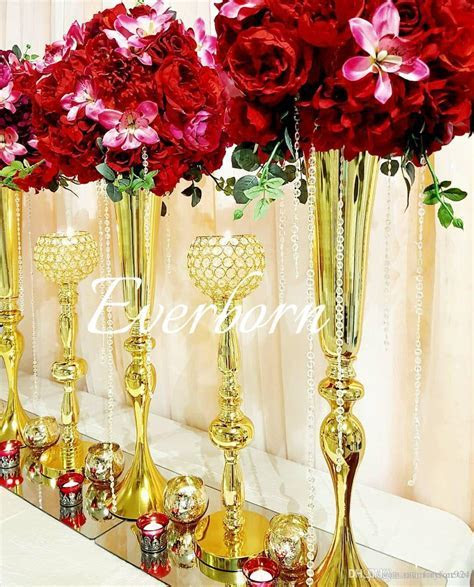 2019 88cm Tall Slim Metal Flower Vase , Trumpet Vases
