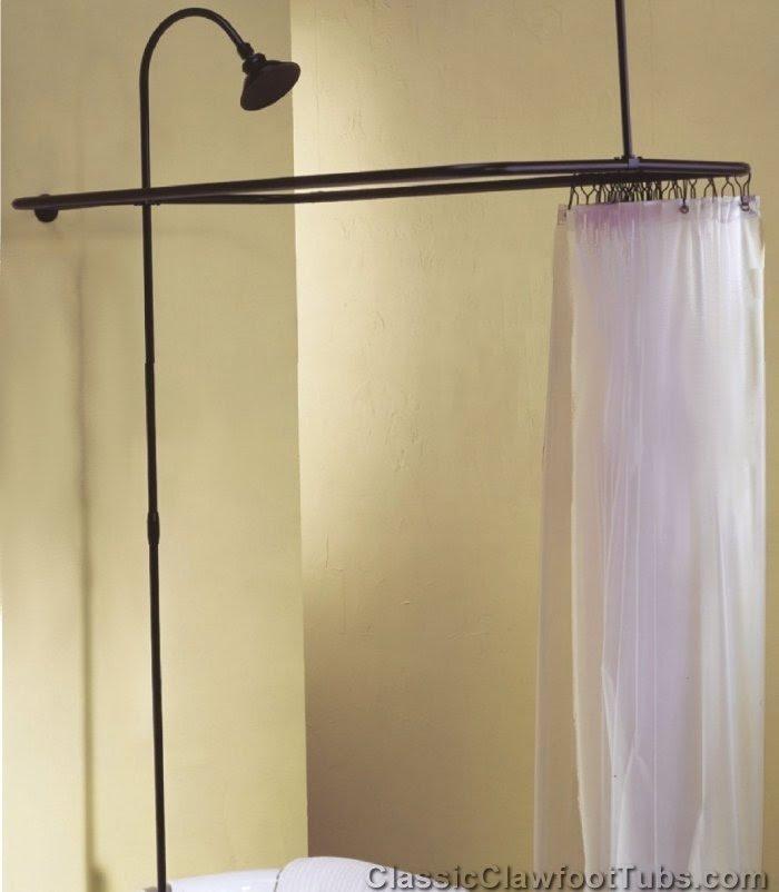 Clawfoot Tub Shower Enclosure Combo- No Faucet | Classic Clawfoot Tub