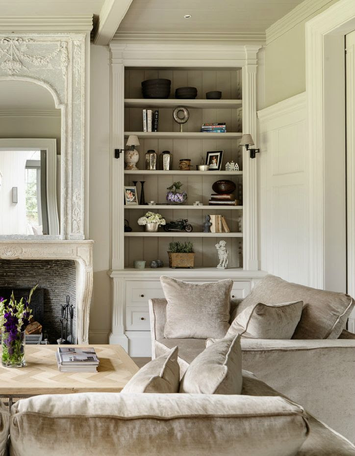 Bespoke Bookcase and panelling, Antique Belgian fireplace -Minnie Peters