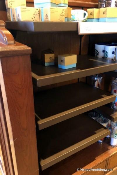 Mug Shelves at Main Street Bakery