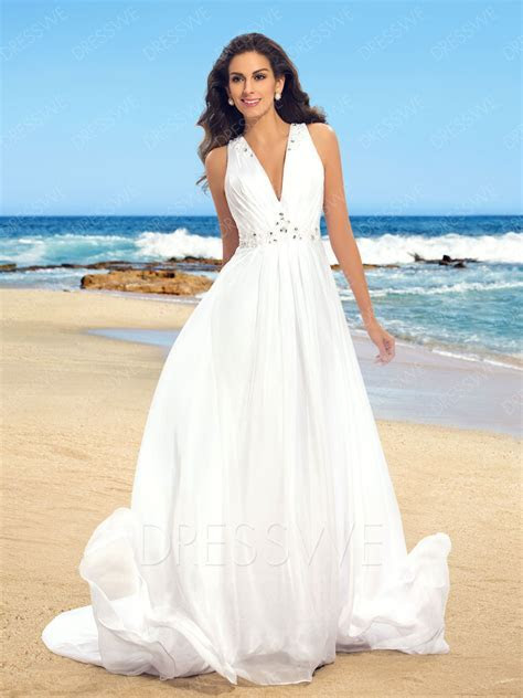 Simple V Neck Beading Court Train Beach Wedding Dress