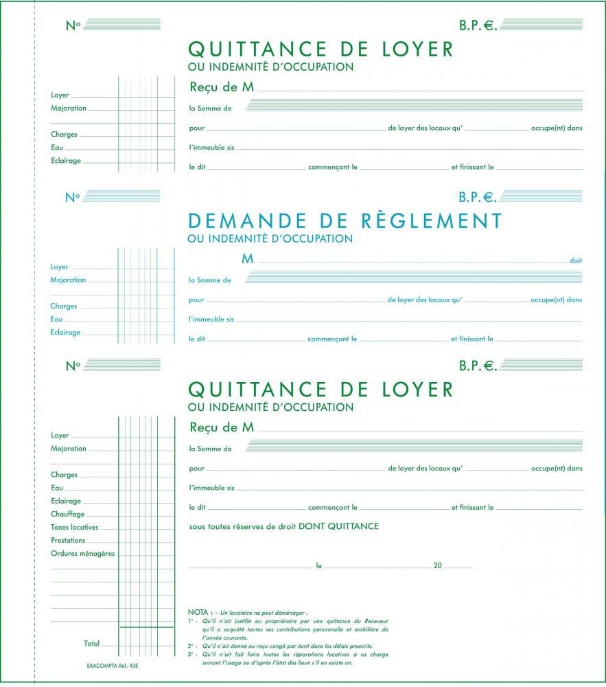 Exemple De Quittance De Loyer Exacompta Remplie - Exemple ...