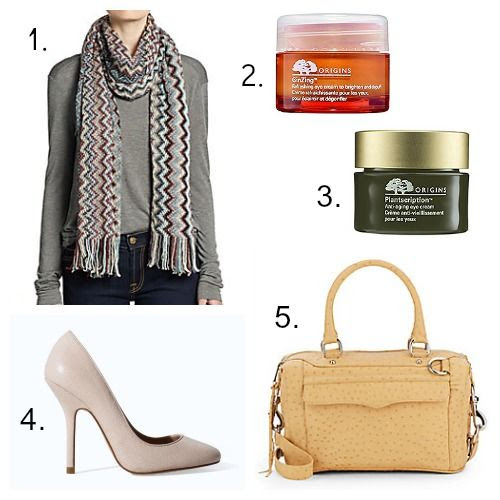 Missoni Scarf - Origins Eye Cream - Rebecca Minkoff MAB Handbag - Zara Pumps