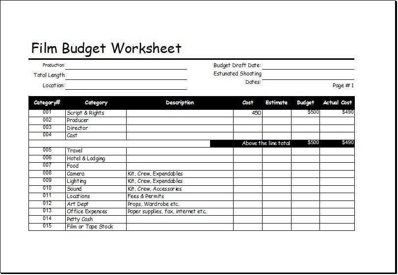 film budget worksheet