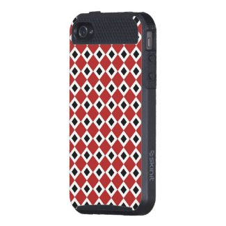 Red, White, Black Diamond Pattern iPhone 4 Covers