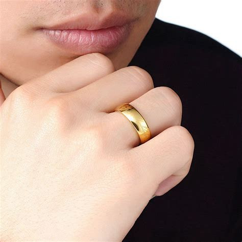 Gold Lord of The Rings Tungsten Wedding Band for Men or