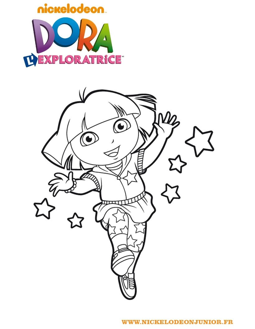 Coloriage de Dora et les étoiles