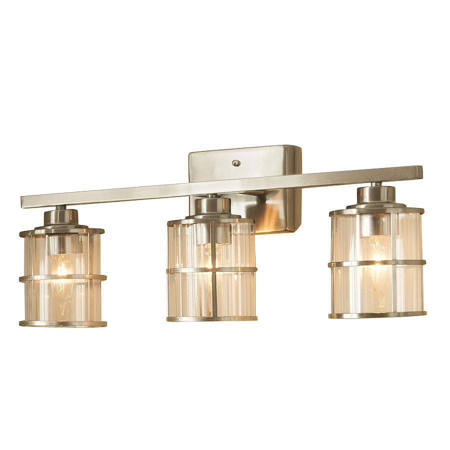 Shop allen + roth Kenross 3-Light Brushed Nickel Cage ...