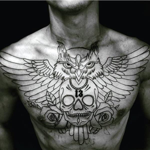 70 Owl Chest Tattoo Designs For Men - Nocturnal Ink Ideas