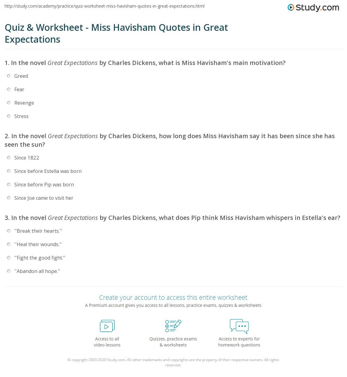 Print Great Expectations Miss Havisham Quotes Worksheet
