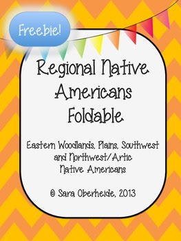 FREE Native American Foldable - East Woodlands, Plains, So