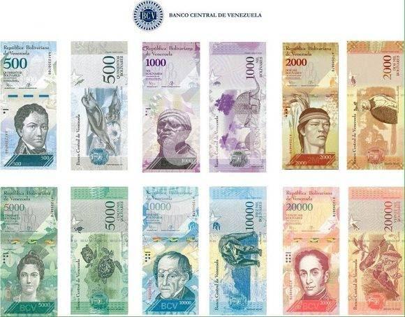 Los nuevos billetes que entrarán en circulación. Foto: Banco Central de Venezuela.