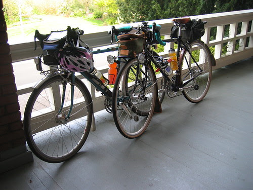The bikes on the porch at McMenamins Edgefield