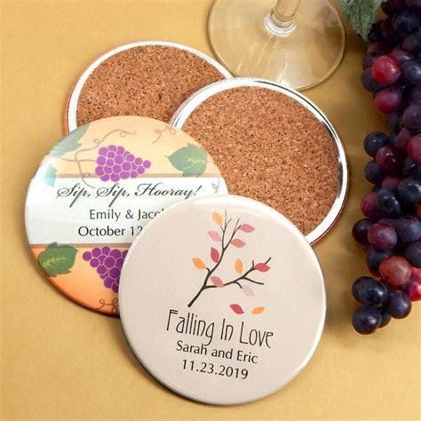 Personalized Coaster Wedding Favors   Two Sided Wedding