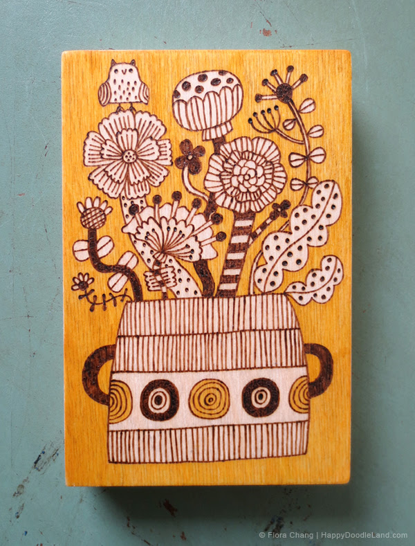 Pyrography Potted Plant in Yellow