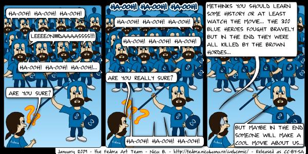 [fedora webcomic: leonidas ha-ooh