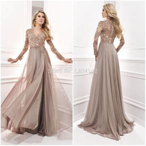 Chiffon Dresses For Wedding Long Sleeve Evening Gown With