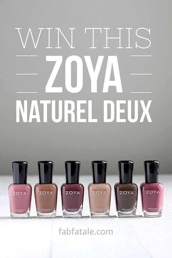 I just entered to win the newly released Zoya Naturel Deux (2) collection at http://www.fabfatale.com/2014/08/zoya-naturel-deux-swatches/ #zoya #nailpolish #zoyanaturel #giveaway