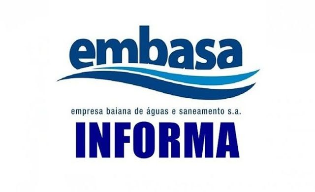 Embasa Informa: Fornecimento de água será interrompido em Itatim