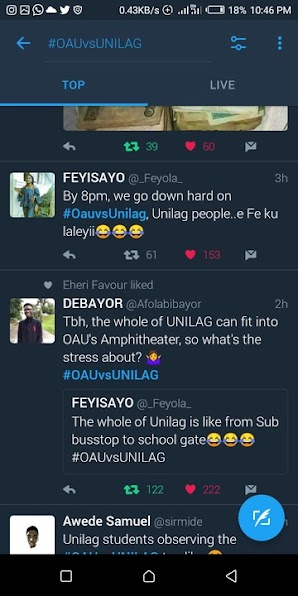 #OAUvsUnilag: OAU Students Sets Twitter Ablaze As Unilag Students Got Consumed In The Tug Of War