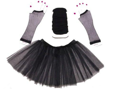 Black 3 Layer Tutu Set, Leg Warmer & Fishnet Gloves Size 8 To 16