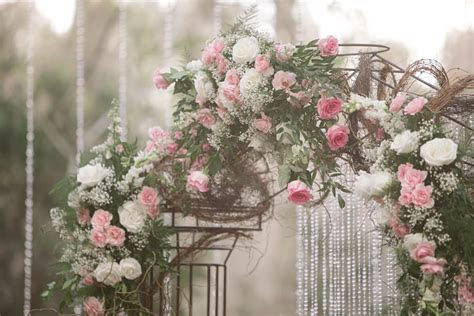 Rustic Glam Floral Wedding Archway with White and Light