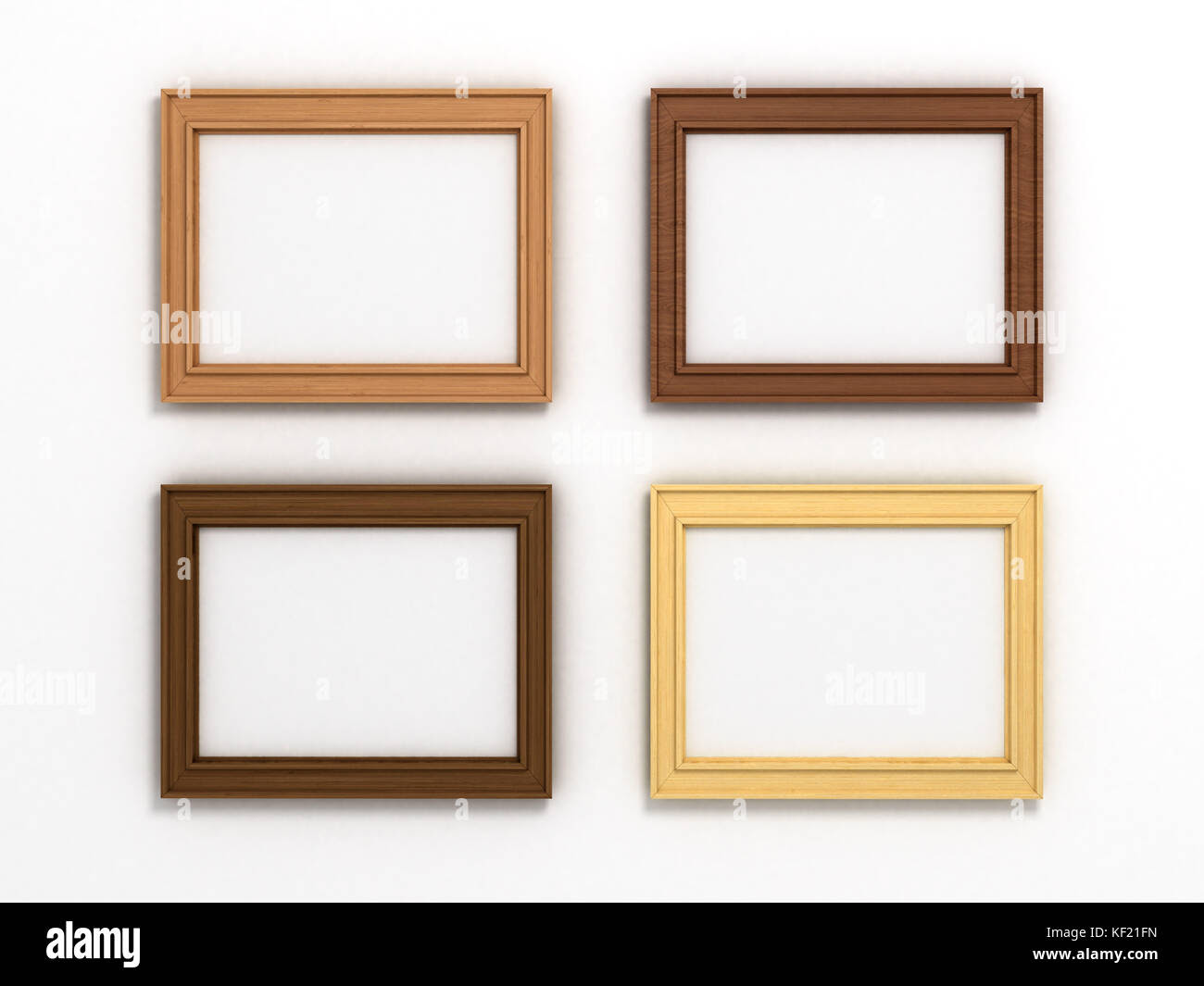 Set Of Multicolored Wooden Horizontal Frames Of Different Sizes On A