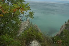 down from bluffs
