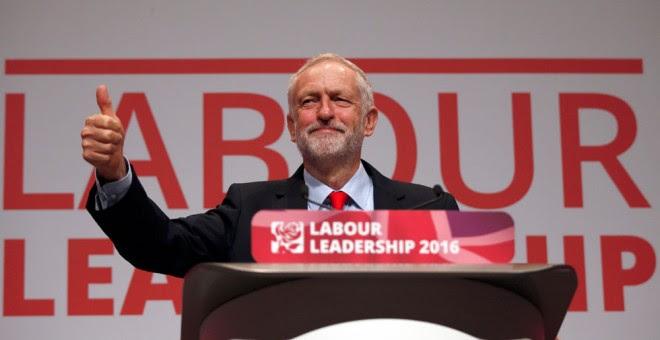 Corbyn, tras el anuncio de su victoria como líder del Partido Laborista. REUTERS