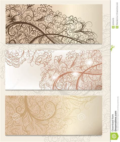 Brochure Vector Set With Vintage Swirl Ornament For Design