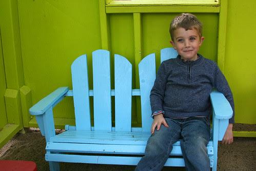 parker on bench