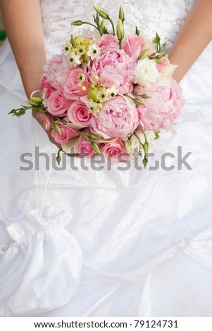 wedding bouquet of pink and white flowers