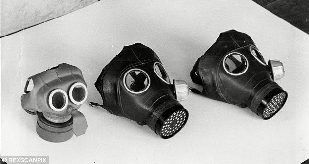 Soviet-era gas masks (not those pictured) are still scattered across the island, which is three miles long and just under two miles wide