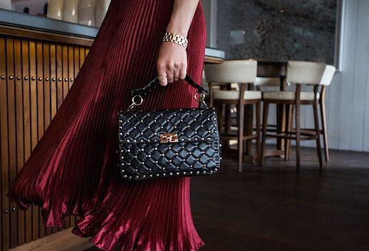 Le Fashion Blog Valentino Rock Stud Purse Red Pleated Midi Skirt Via Oracle Fox