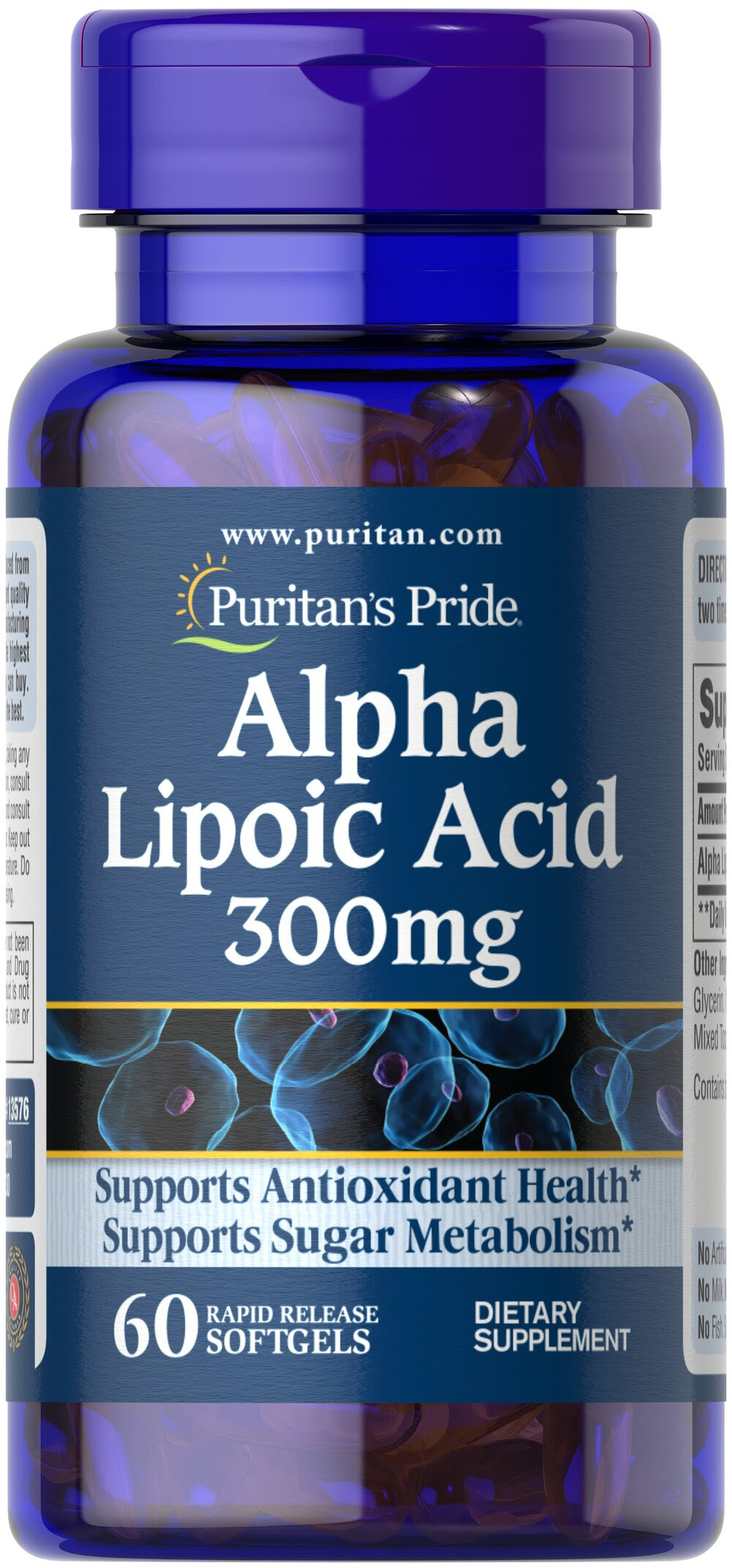 """Alpha Lipoic Acid 300 mg <p>Alpha Lipoic Acid (ALA) helps metabolize sugar, especially in muscles, where it promotes energy.**</p><p>ALA is also beneficial for liver health, and helps to revitalize the underlying structure of the skin so it can look healthier and more radiant.**</p><p>ALA is often called the """"universal antioxidant"""" for its ability to help neutralize cell-damaging free radicals.** </p> 60 Softgels 300 mg $12.99"""