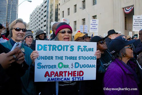 Detroiters marching against emergency management and forced bankruptcy outside federal court on October 23, 2013. by Pan-African News Wire File Photos