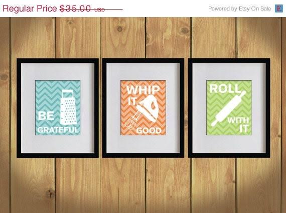 ON SALE Kitchen Art Print - Chevron, Baking Utensils, Zigzag Stripes - Set of 3 - 8X10 - White, Bondi Blue, Orange, Apple Green - No. KB008