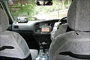English: Taxi ride through Kyoto, GPS navigati...