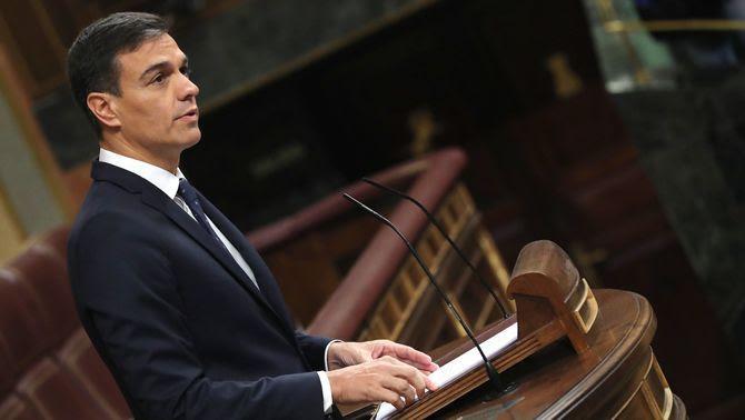 El president del govern espanyol, Pedro Sánchez, durant la seva intervenció, aquest dimecres, en el Congrés dels Diputats (EFE)