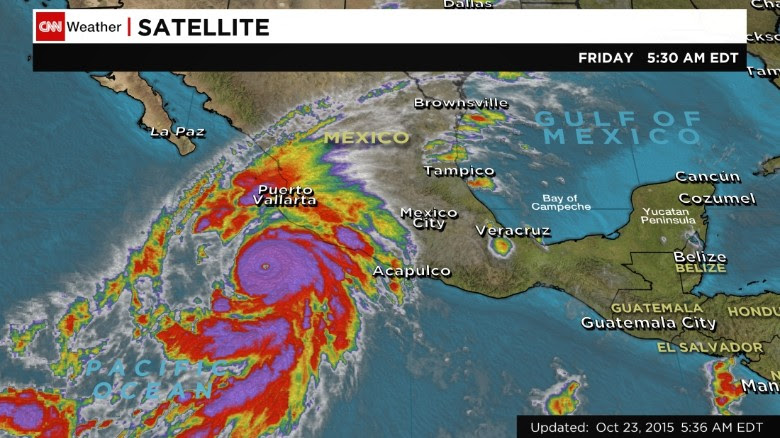 A satellite image shows Hurricane Patricia in the Pacific at 5:30 a.m. ET Friday.