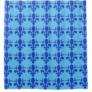Blue Fleur-de-Lis Design on Shower Curtain