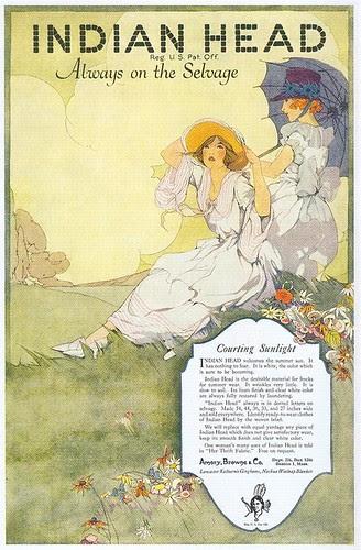 M.C. Woodbury, Indian Head Fabrics ad, 1920