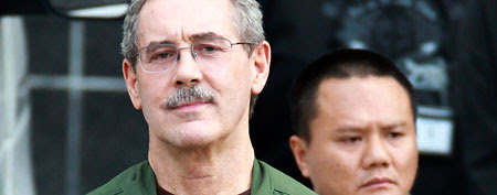 In this March 6, 2012 file photo, R. Allen Stanford leaves the Bob Casey Federal Courthouse in Houston. Stanford, once considered one of the wealthiest people in the U.S., with a financial empire that spanned the Americas, was convicted on charges he bilked investors out of more than $7 billion. (AP Photo/Houston Chronicle, Nick de la Torre, File)